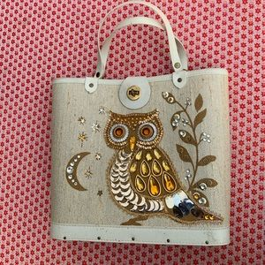 Vintage sequined and jeweled owl & moon purse